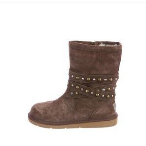 UGG Chocolate Brown Clovis Stud Strap Boots
